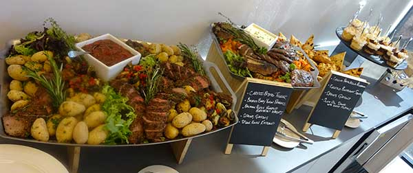 Photo of corporate catering food service display in Waltham, Massachusetts.