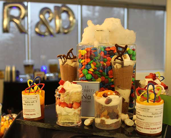 Photo of corporate catering dessert table.