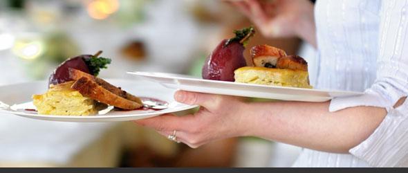 Employee serving healthy food