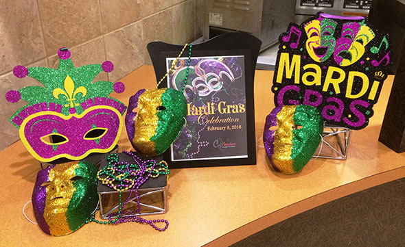 Photo of Marti Gras promo at Maryland corporate food service account.
