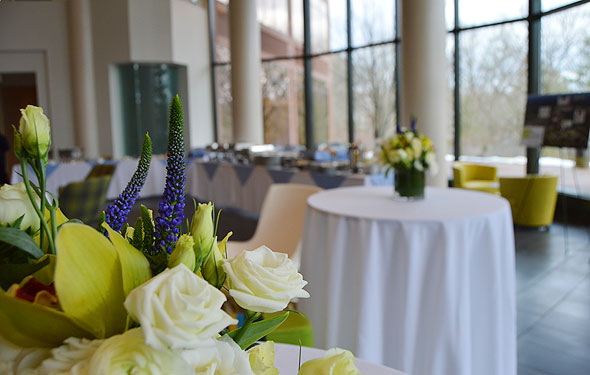 Close up photo of flowers at corporate catered event