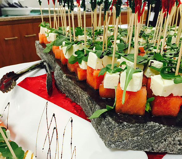 Watermelon display at corporate dining event