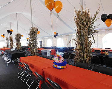 Decorated Café with Balloons, Cornstalks and Fall Colors