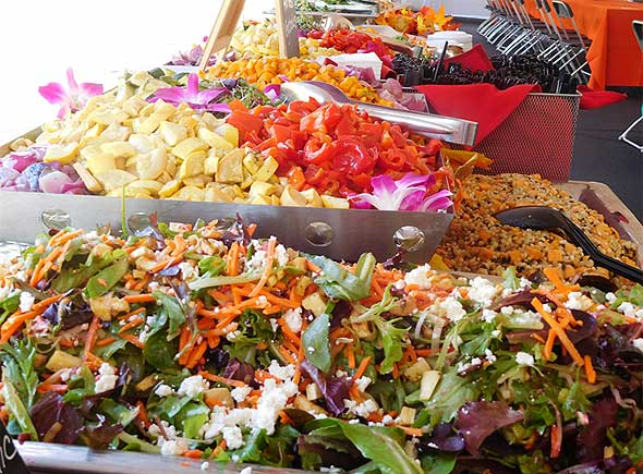 Photo of food display for corporate dining event