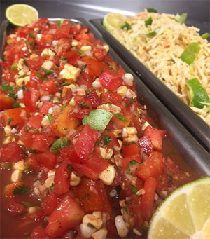 Chef Rob's salsa made with fresh vegetables from employee garden