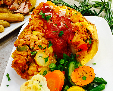 Stuffed Spaghetti Squash with Carrots and Green Beans