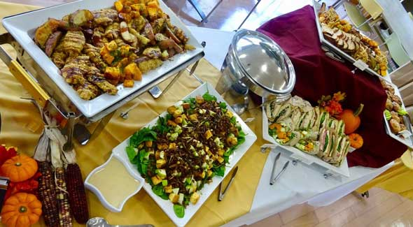 Photo of catered buffet serving table