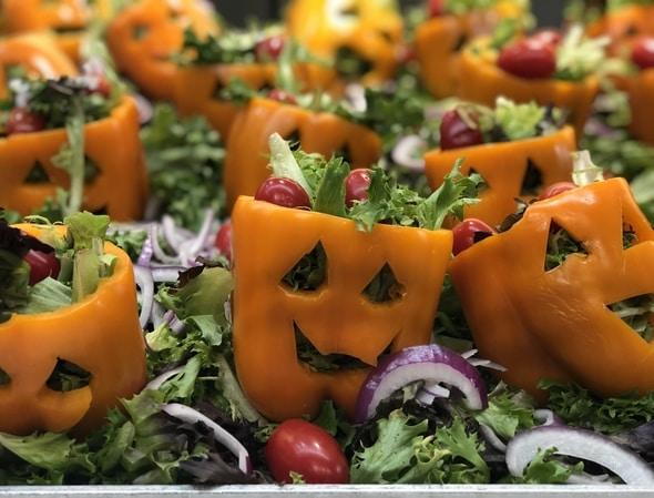 Halloween at iRobot Bedford Massachusetts Pepper Jack O Lanterns with Greens