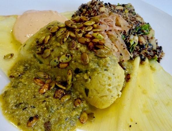 Vegetarian Tomalito Poblano Dish