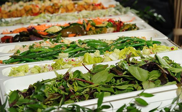 Photo of locally-sourced vegetable bar at corporate dining cafeteria in Massachusetts