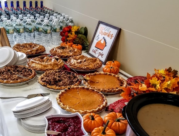 Buffet table setting of the beautiful pies at Brighton Marine in Brighton, Massachusetts.