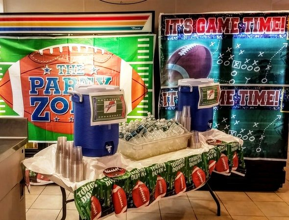 Beverage Station with Gatorade and Water at BIC Super Bowl Party