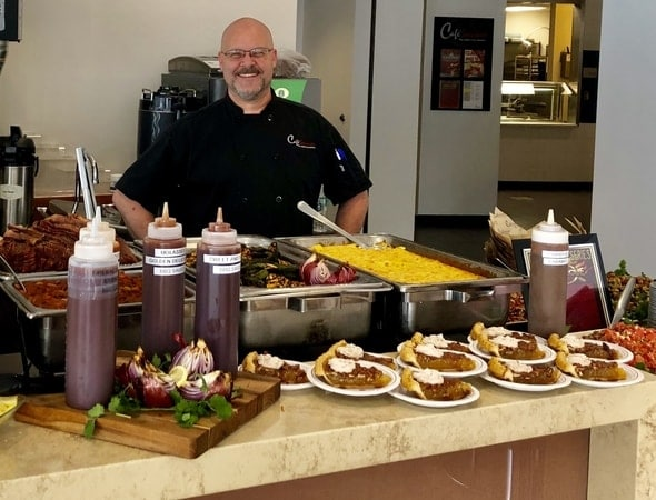 Chef Paul proudly presenting his southern BBQ at City Point Cafe in Waltham, Massachusetts