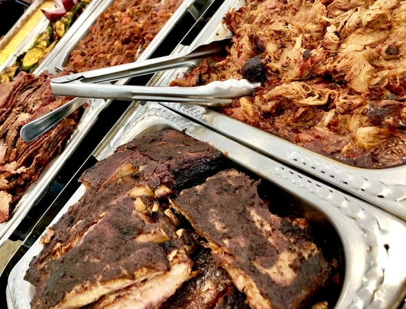 Pulled pork, ribs and beef brisket for our Southern BBQ at City Point in Waltham, Massachusetts