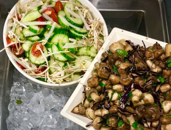 Marinated mushrooms and cucumber salad at Verizon in Waltham, Massachusetts