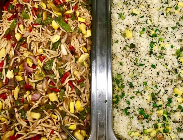 Roasted vegetable Lo Mein, sesame scallion rice at Innovation Cafe