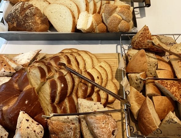This is a picture of the rustic bread choices in Waltham, Massachusetts