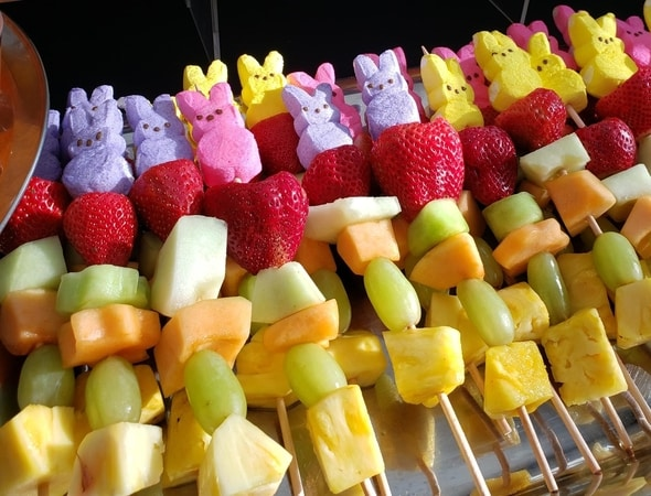 Springtime Breakfast fruit sticks topped with Peeps!