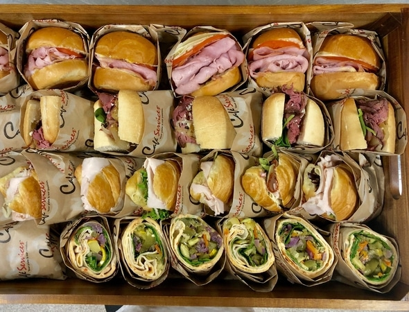 Assorted mini sandwiches from our catering menu