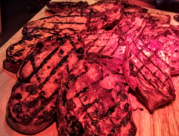 Pictured here are cranberry glazed sweet potato steaks