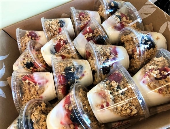 Yogurt Parfaits for a catering order.